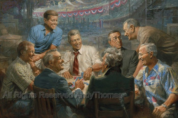 Presidents Playing Poker Together